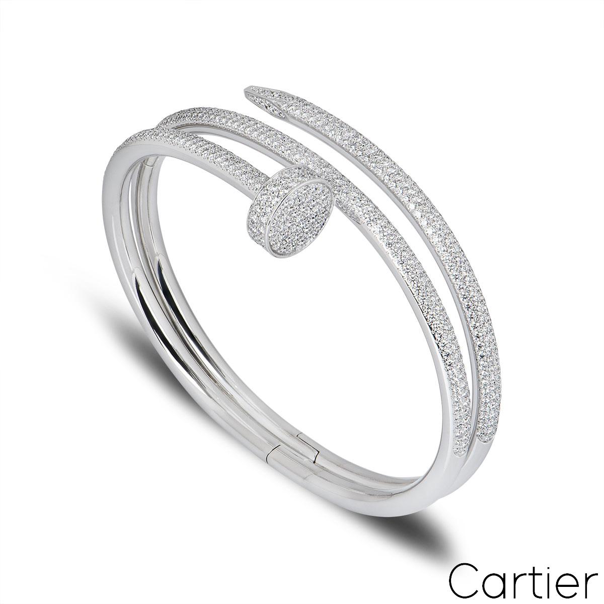 Cartier White Gold Diamond Juste Un Clou Bracelet Size 19 N6708719